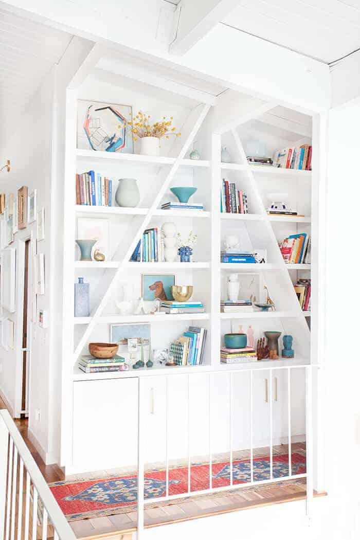 Emily-Henderson-Bookcase-midcentury-modern-clean-white-accessories-