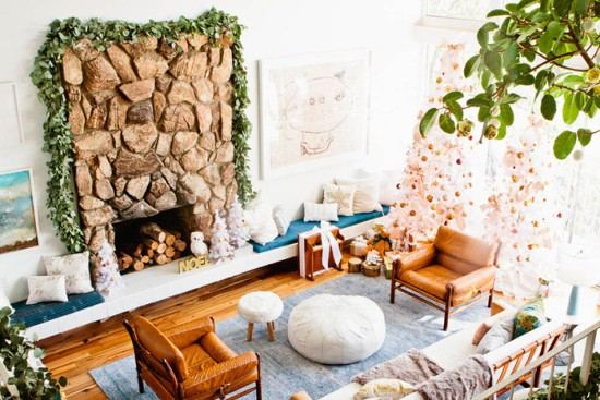 neutral holiday decorating living room fireplace garland white gold blue copper