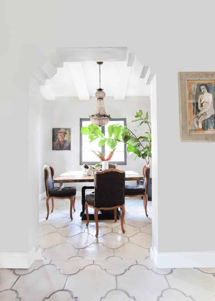 Emily Henderson_French Rustic Dining Room Crystal Chandelier Concrete Tile California Casual_overall pulled back