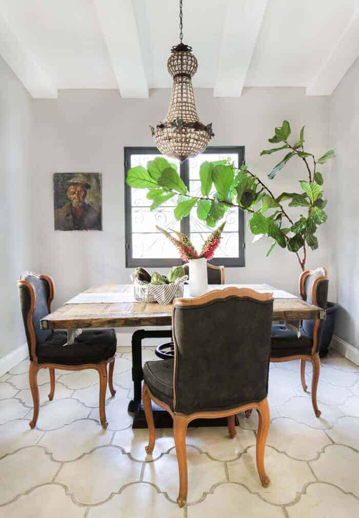 Emily Henderson_French Rustic Dining Room Crystal Chandelier Concrete Tile California Casual_overall
