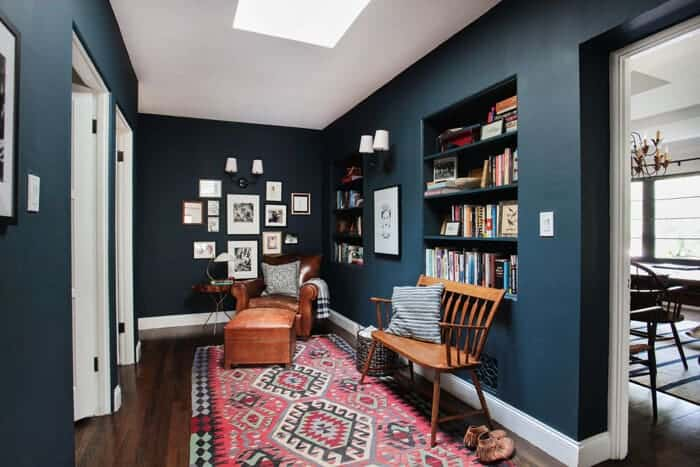 Emily Henderson_Hague Blue Reading Nook_Leather Chair_Gallery Wall_Bookshelves