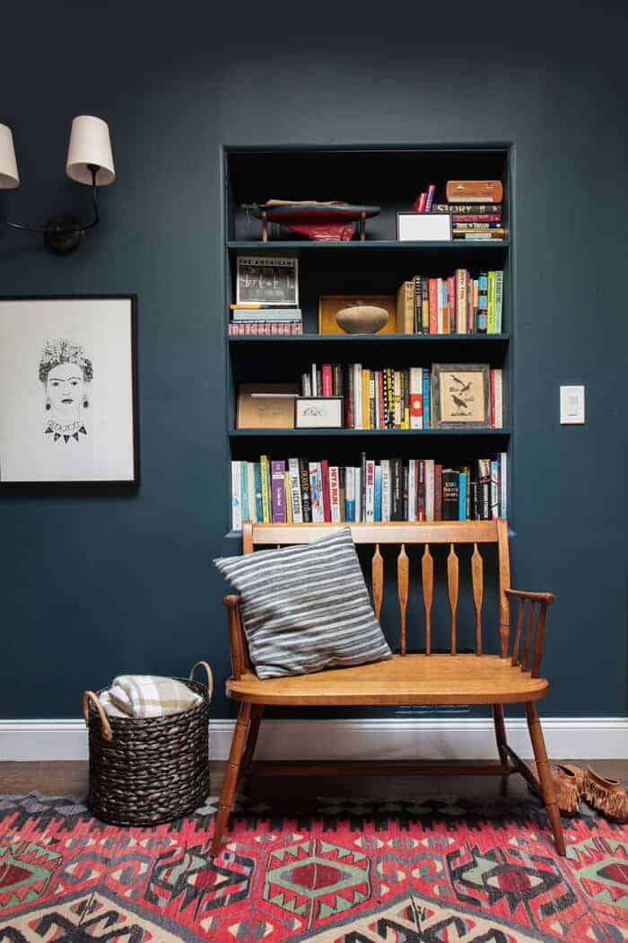 Emily Henderson_Hague Blue Reading Nook_Leather Chair_Gallery Wall_Bookshelves2