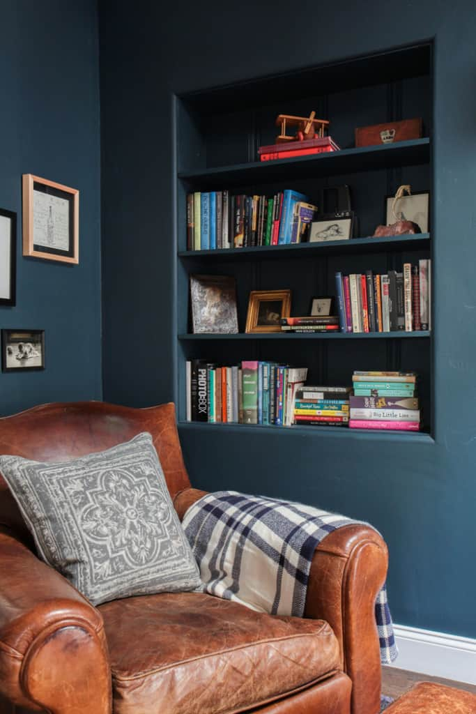 Emily Henderson_Hague Blue Reading Nook_Leather Chair_Gallery Wall_Bookshelves3