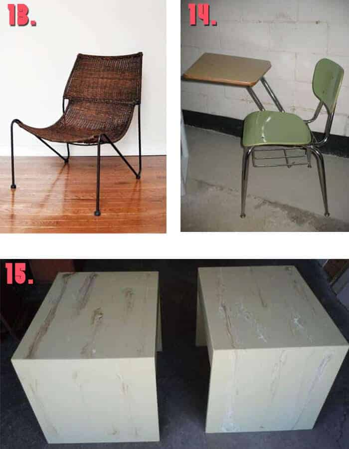 Free desk whicker chair stone tables