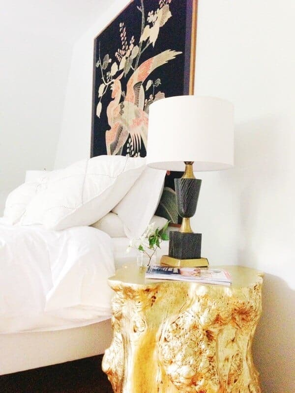 gold stump side table