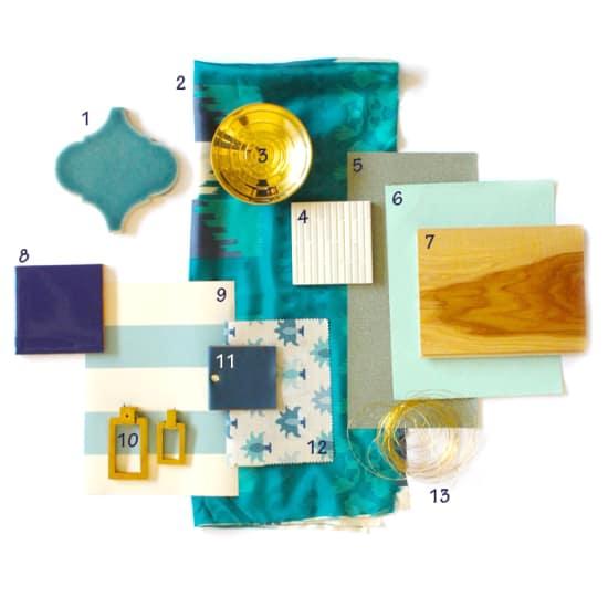 green gold materials board
