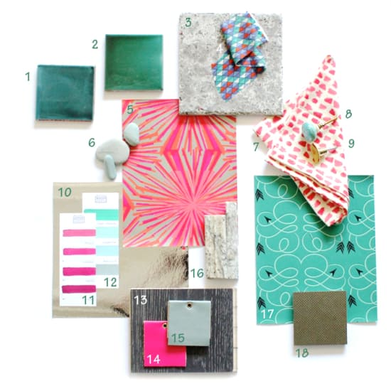 pink and green materials board