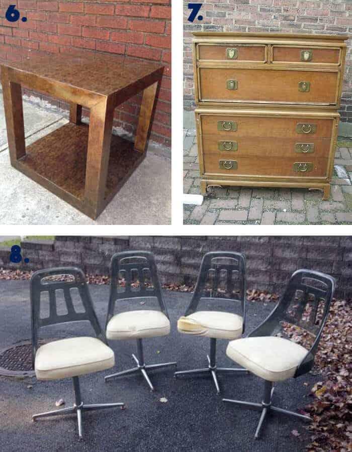 Milo Baughman Table and Vintage Dresser