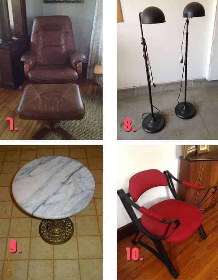 Minneapolis Craigslis vintage lamps and chair