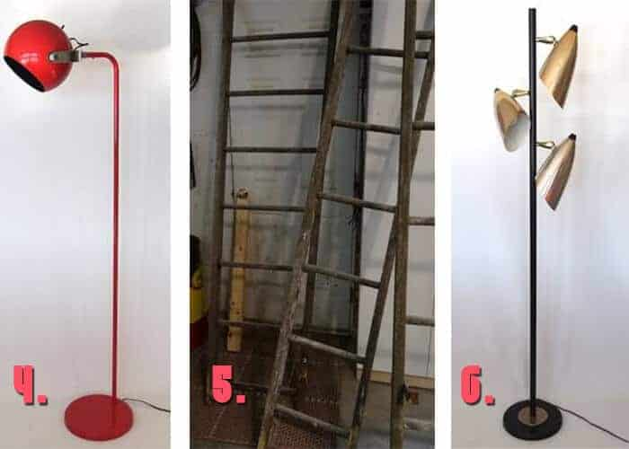 Minneapolis Craigslist Vintage floor lamps and orchard ladder