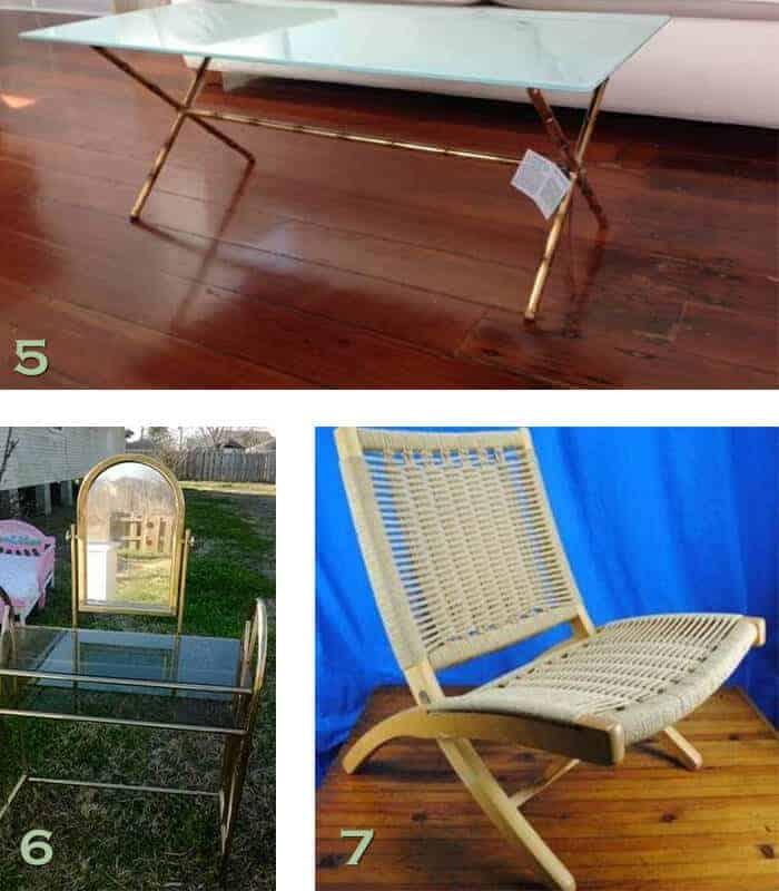 NOLA craigslist MCM chair glass table brass vanity