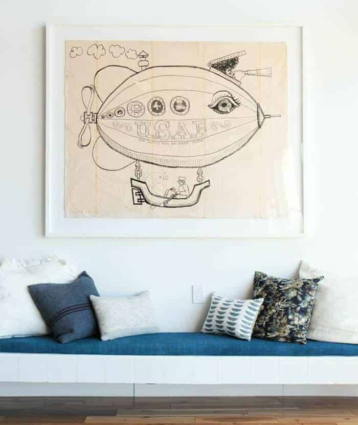 Pillows_ Bench Midcentury Modern Emily Henderson_Blue Neutrals Creams Whites