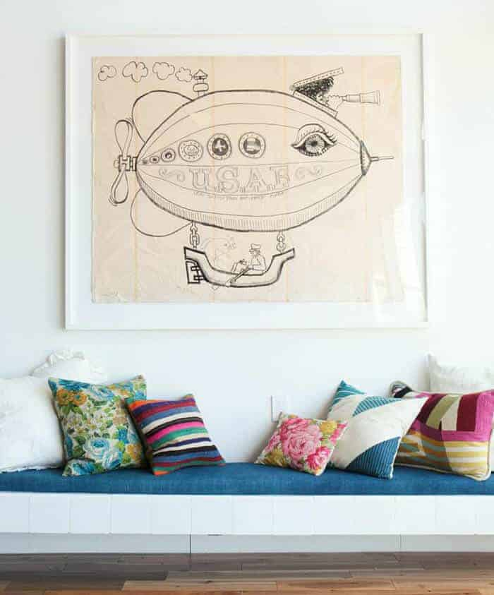 Pillows_ Bench Midcentury Modern Emily Henderson_Blue Pink Floral Green White