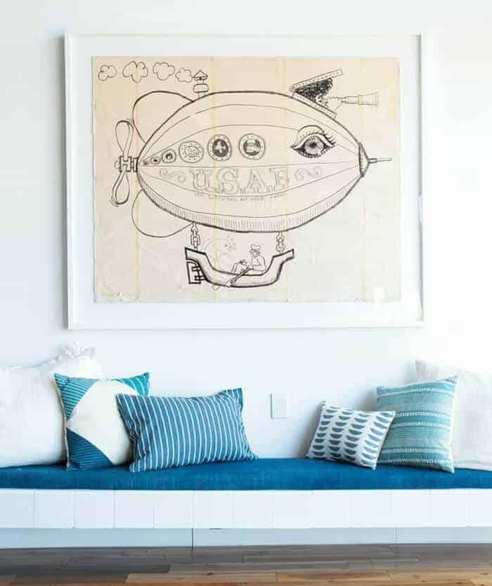 Pillows_ Bench Midcentury Modern Emily Henderson_Blue White Cream Striped Pattern