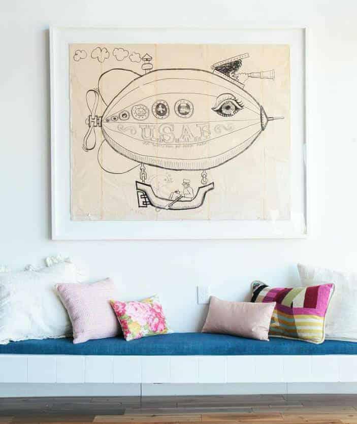 Pillows_ Bench Midcentury Modern Emily Henderson_Pinks Blush White Floral