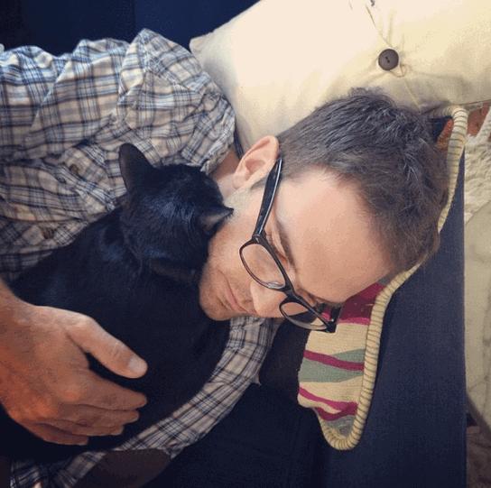 brian cuddling with bearcat