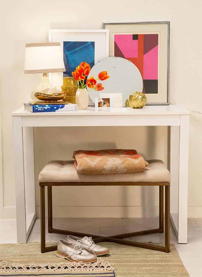 Target Accent Wall_Desk Bench Modern Art White