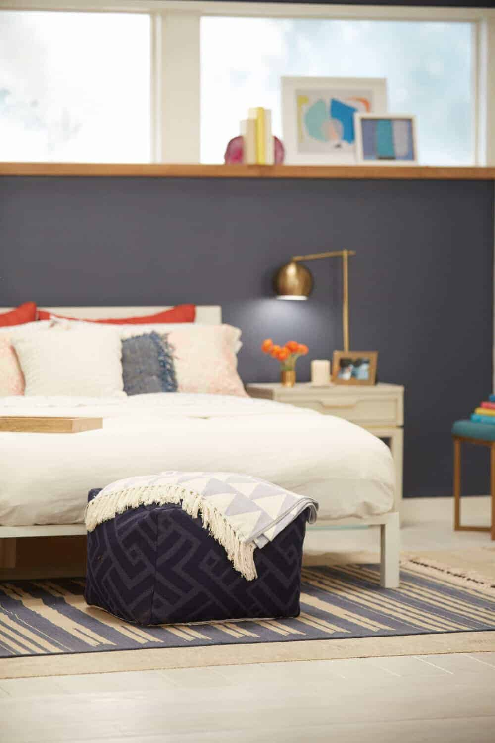 Target Accent Wall_Emily Henderson_Bedroom_Blue_Bedding_Midcentury Modern 2