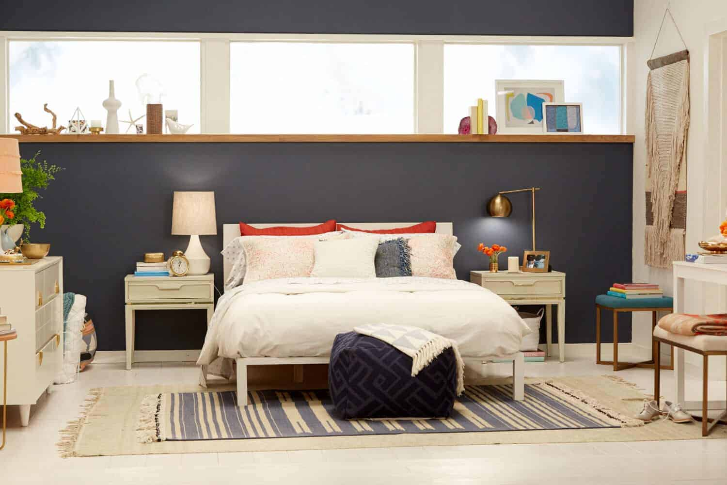 Navy Blue Accent Wall Bedroom Makeover