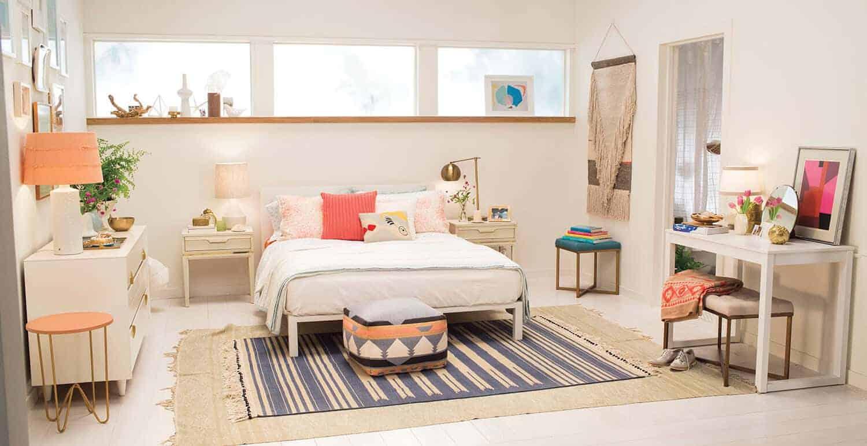 Target Emily Henderson_bedroom_white blue orange casual calm bedroom
