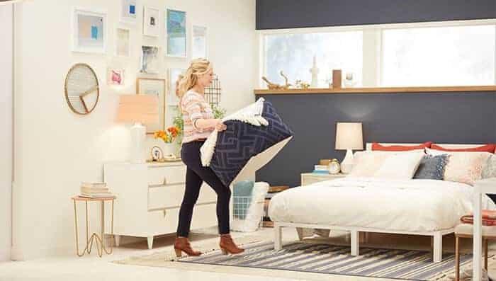 Target Emily Henderson_bedroom_whiteblue orange casual calm bed styling
