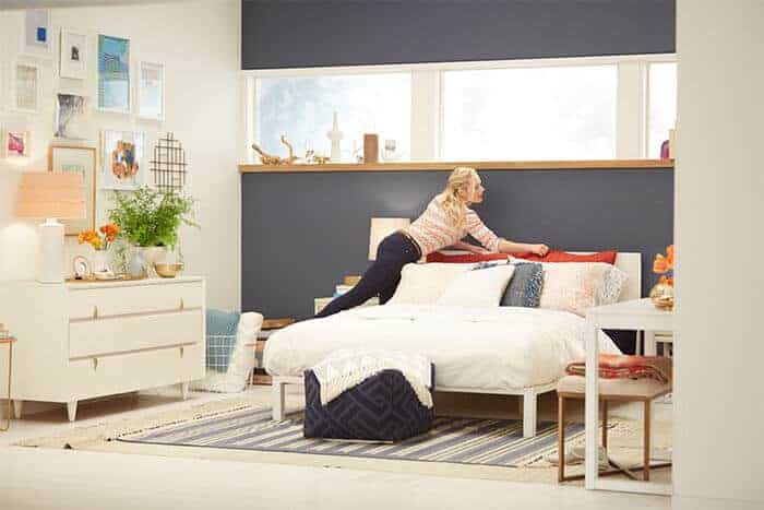 Target Emily Henderson_bedroom_whiteblue orange casual calm bed styling1