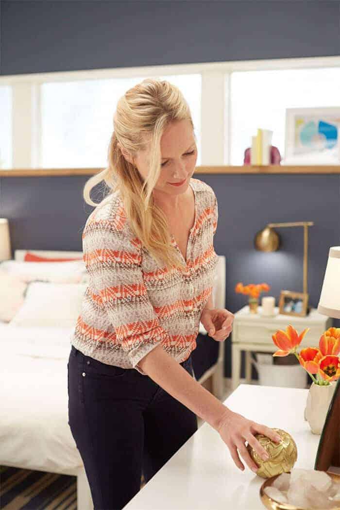 Target Emily Henderson_bedroom_whiteblue orange casual calm desk styling