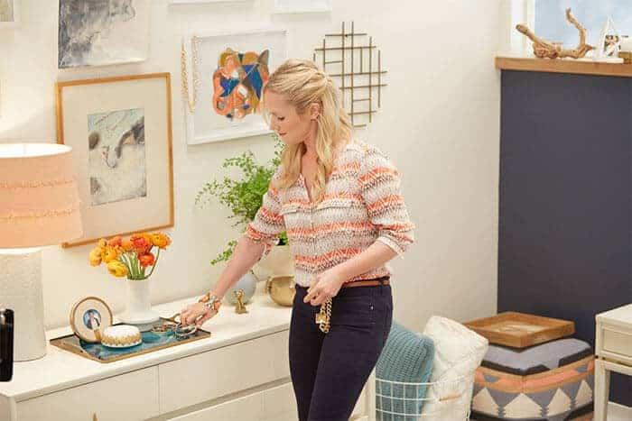 Target Emily Henderson_bedroom_whiteblue orange casual calm dresser styling