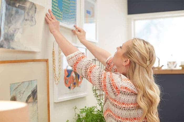 Target Emily Henderson_bedroom_whiteblue orange casual calm gallery wall art