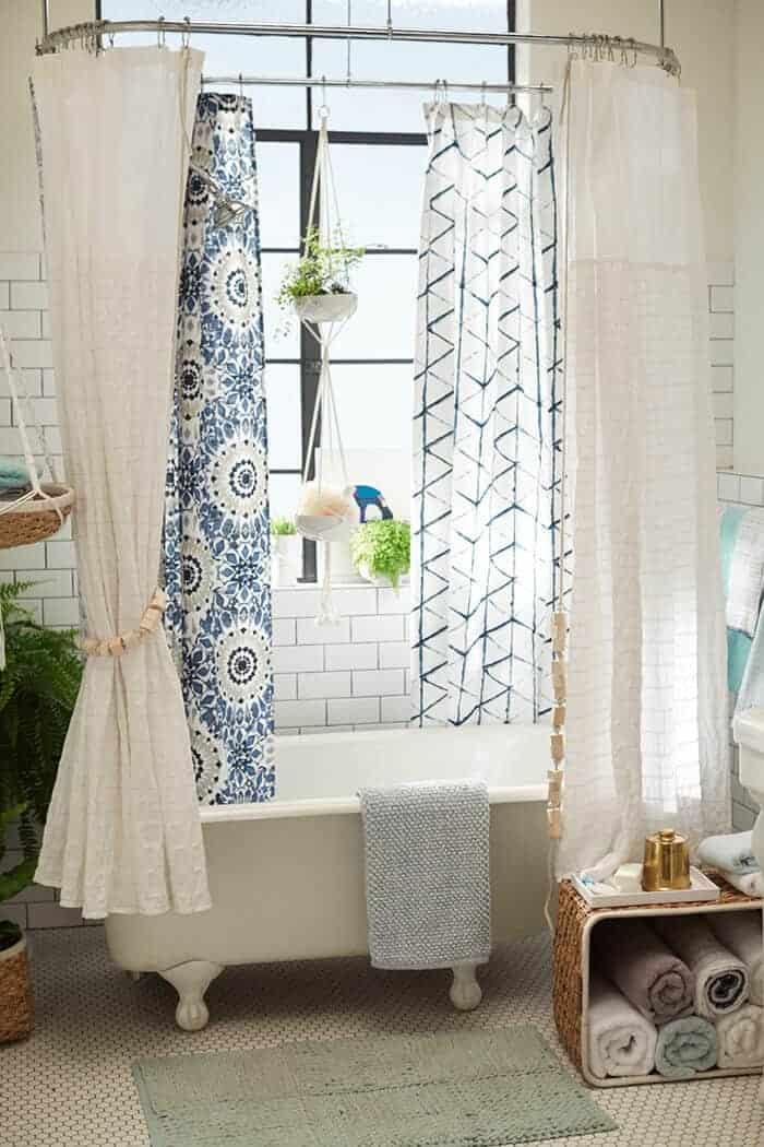 Target_Emily Henderson_Bathroom_Blue White Green Eclectic Bohemian_bathtub