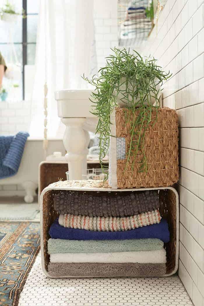 Target_Emily Henderson_Bathroom_Blue White Green Eclectic Bohemian_storage baskets floor