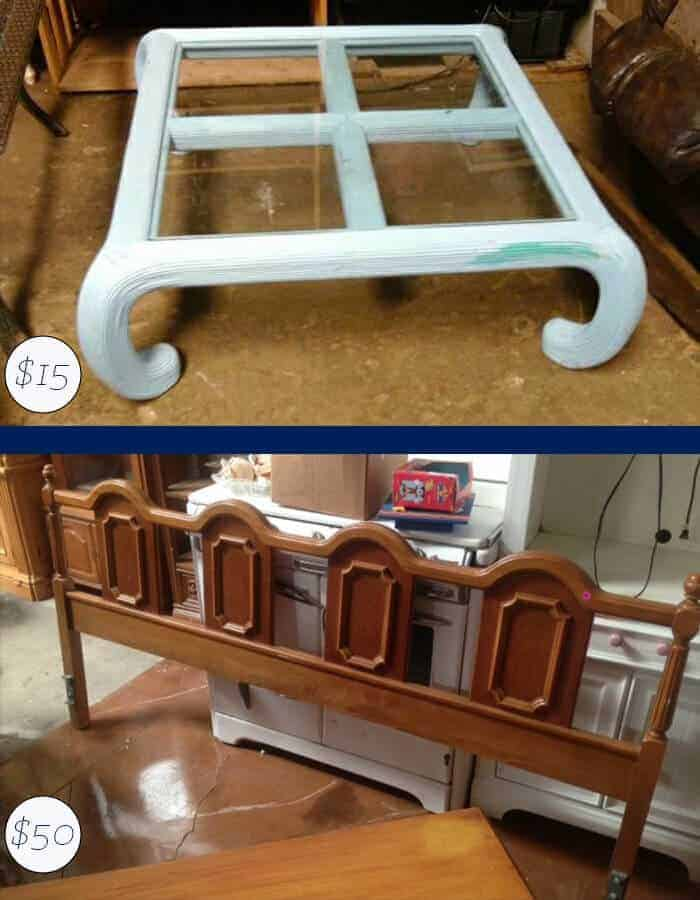 Vintage Coffee Table and Kind Bed