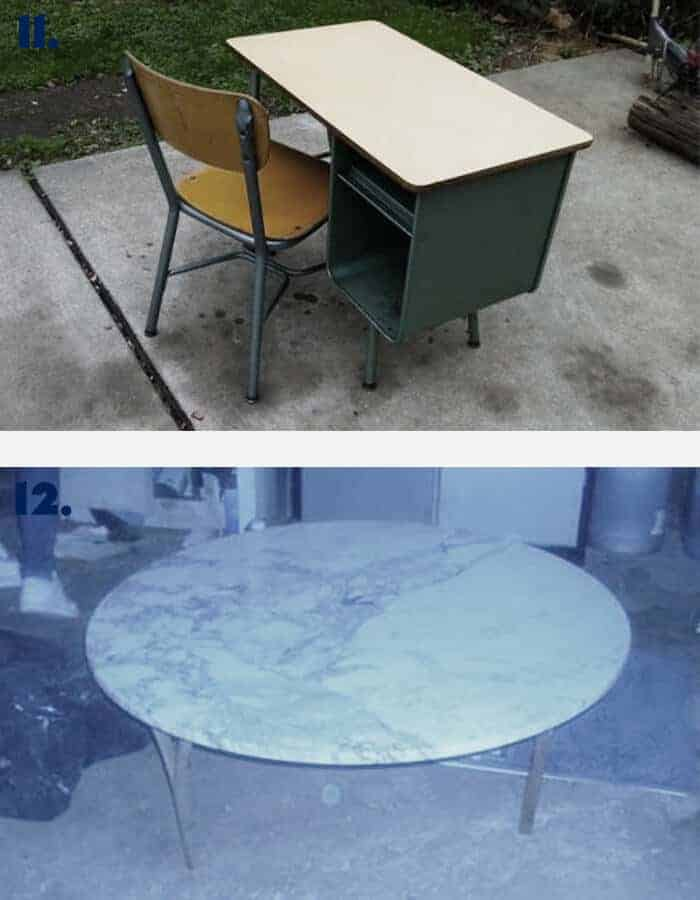 Vintage Desk and Marble and Brass Table