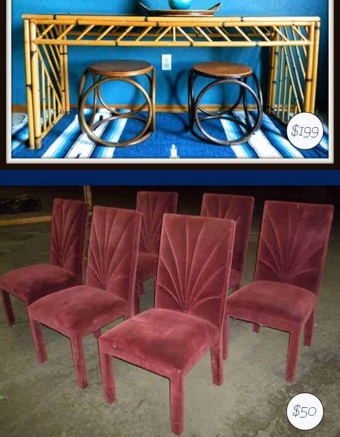Vintage Dining Chairs and Bamboo Credenza