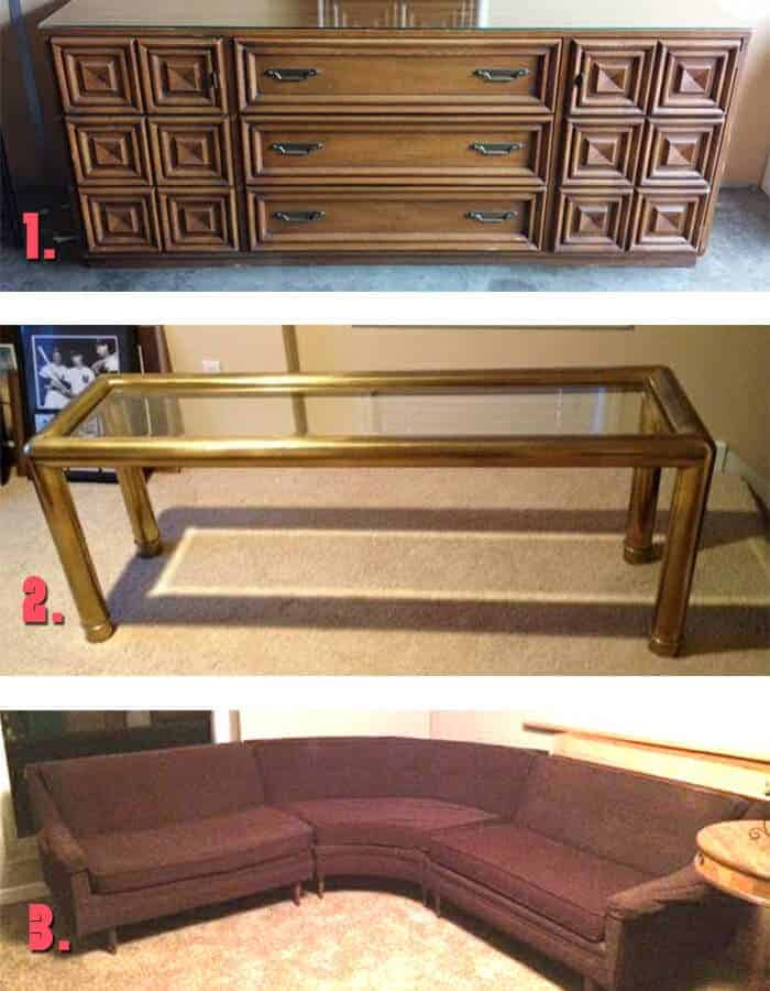 Vintage Dresser Brass table and Sectional