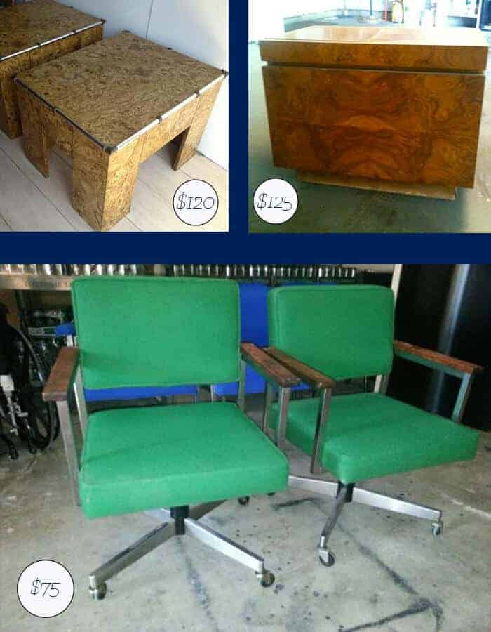 Vintage Side Table and Desk Chairs