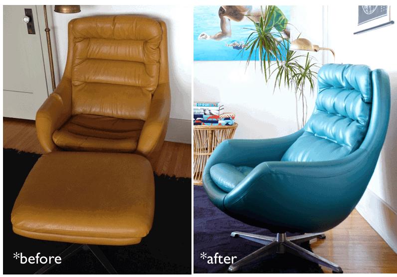 blue vinyl chair