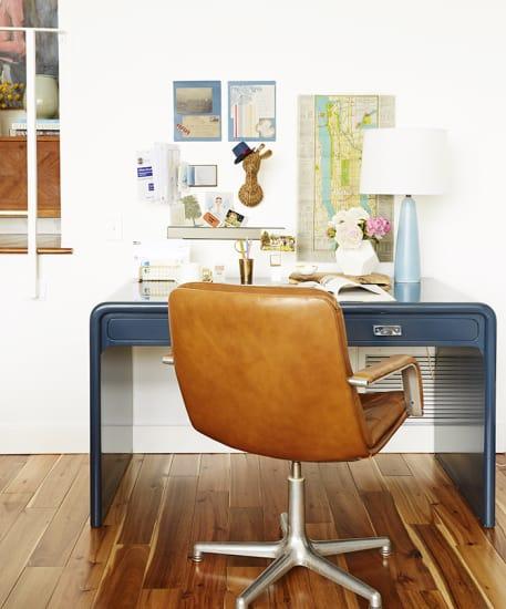 blue waterfall desk