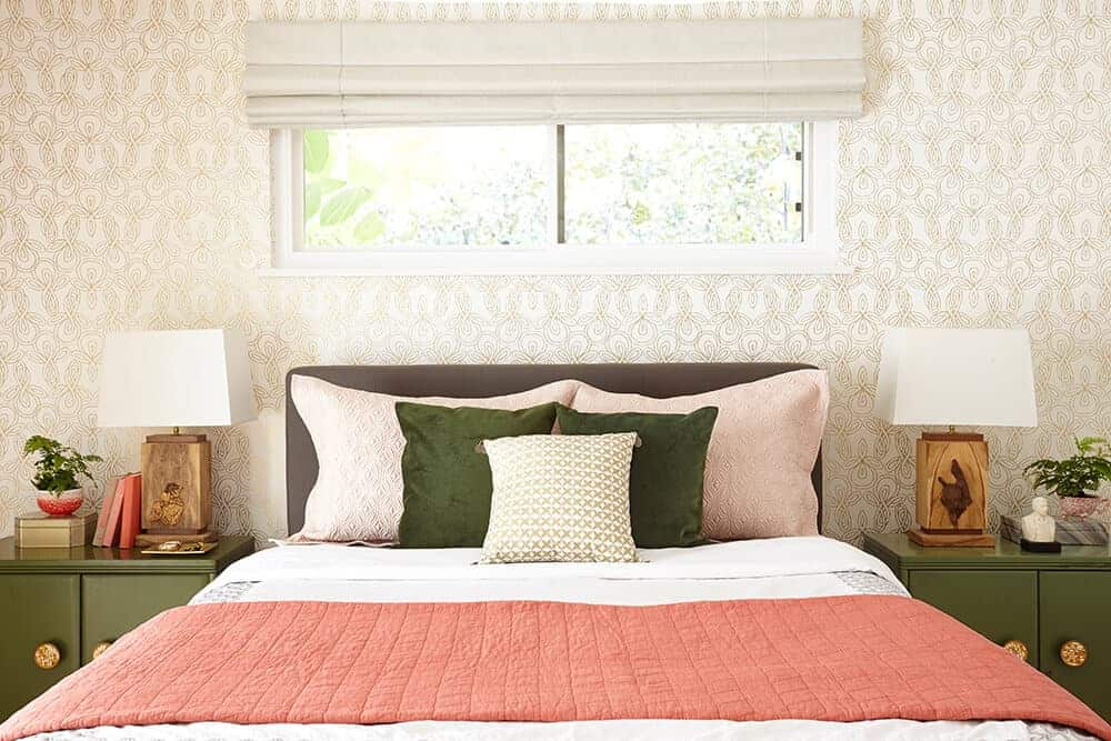 Custom Roman Shades Innovative Openings  coral and green bedroom