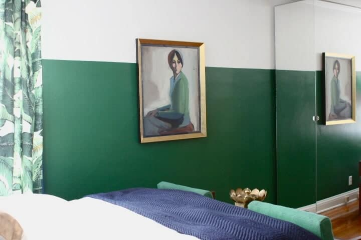 green and white walls