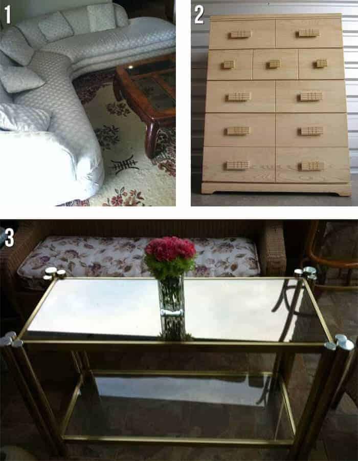houston sectional vintage dresser brass table