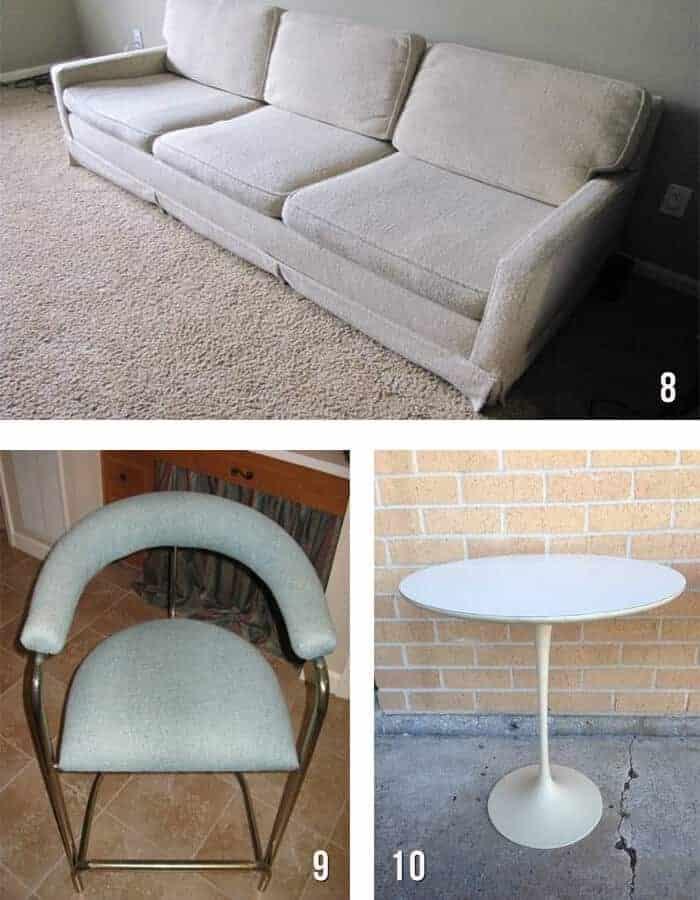 houtson brass stool vintage sofa