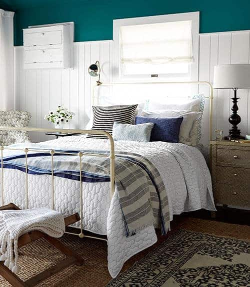 teal bedroom beadboard