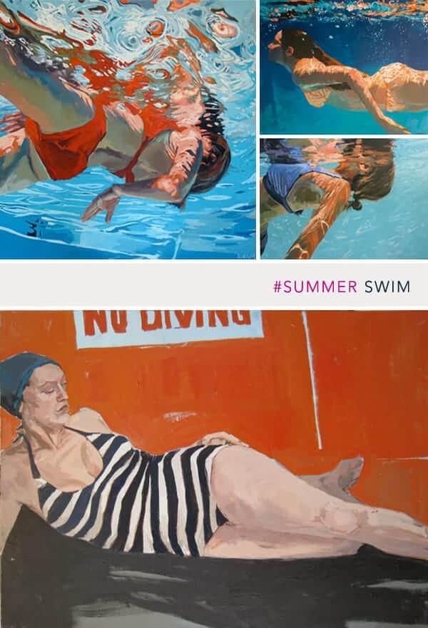 swimming artwork
