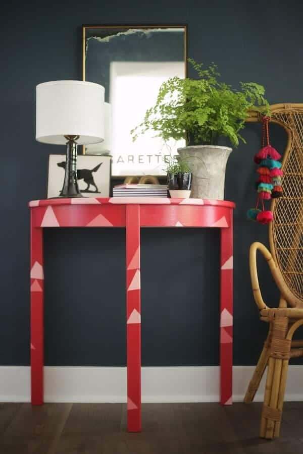 red demilune table